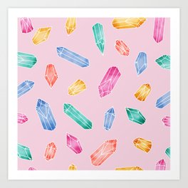 Crystals pattern - Candy pink Art Print