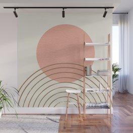 Pink Sun Mid-Century Full Wall Mural