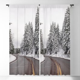 A living snow globe scene and winter wonderland created by a sudden mountain blizzard along Californ Blackout Curtain