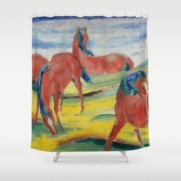 "Franz Marc ""Grazing Horses"" (III) Shower Curtain"