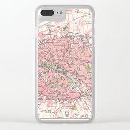 Antique Map of Paris & Environs Clear iPhone Case
