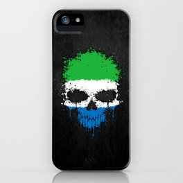 Flag of Sierra Leone on a Chaotic Splatter Skull iPhone Case