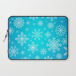 Blue Snowflake Winter Decoration Pattern Laptop Sleeve