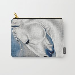 White Lusitano Blue Comic Style Carry-All Pouch