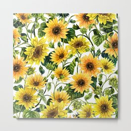 Watercolor Sunflower #43 Metal Print