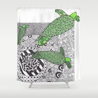 turtles Shower Curtains featuring Turtles by Kandus Johnson
