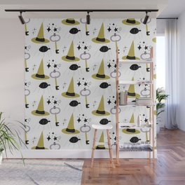 Happy haloween hats, keys, spiders and stars Wall Mural
