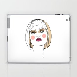 Blonde woman with makeup. Abstract face. Fashion illustration Laptop & iPad Skin