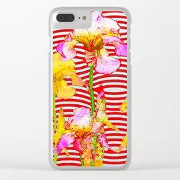 Oriental Red Wave Iris Water Garden Clear iPhone Case