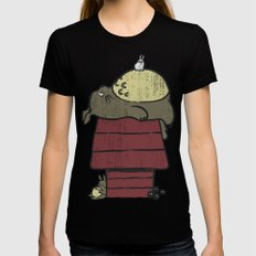 My neighbor Peanut Black SMALL Womens Fitted Tee