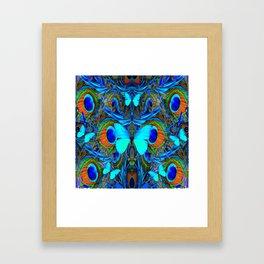 ELECTRIC NEON BLUE BUTTERFLIES & BLUE PEACOCK FEATHERS Framed Art Print