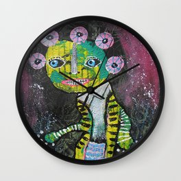 Yellow And Green On The Face Wall Clock