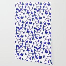 Ginkgo Leaves Watercolor Indigo on white Wallpaper