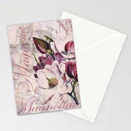 Vintage Magnolia flower illustration Stationery Cards