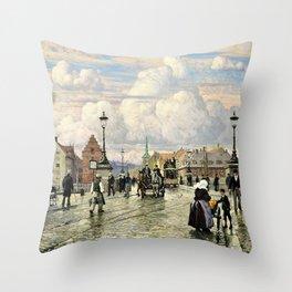Paul Gustav Fischer - A Scene From Knippelsbro, Bridge In Copenhagen, When The Artist Was A Boy Throw Pillow