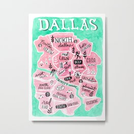 Dallas City Map Metal Print