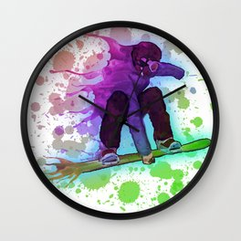 Paint splatter rainbow snowboarder Wall Clock