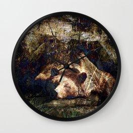 Long Winters Nap I (Hibernating Bear) Wall Clock
