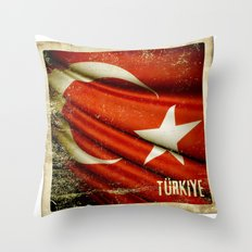 Grunge sticker of Turkey flag Throw Pillow