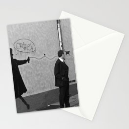 a man, a bird and a cat Stationery Cards