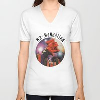 manhattan V-neck T-shirts featuring Wo-Manhattan by Collage Calamity