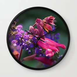 Purple and Pink Blooms Wall Clock