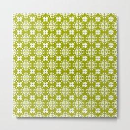 Yellow & White Floral Tile Pattern Metal Print