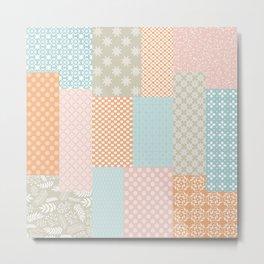 Modern Farmhouse Floral Geometric Quilt Bright Citrus Orange Turquoise Pink Beige Metal Print