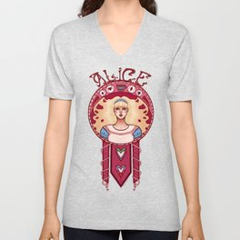 Curiouser and Curiouser-Alice Unisex V-Neck