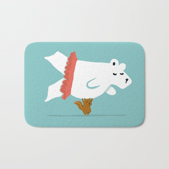 You Lift Me Up - Polar bear doing ballet Bath Mat