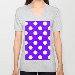 Large Polka Dots - White on Indigo Violet Unisex V-Neck