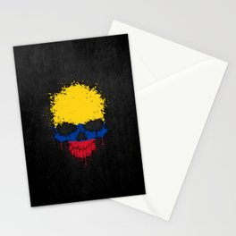 Flag of Colombia on a Chaotic Splatter Skull Stationery Cards