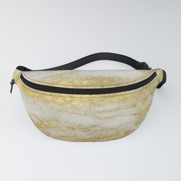 Marble - Glittery Gold Marble and White Pattern Fanny Pack