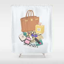 What's in my bag Illustration Shower Curtain