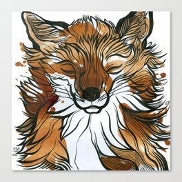 Sleepy Tea Fox Canvas Print