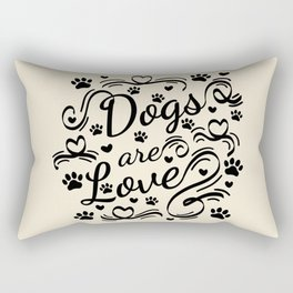 Dogs Are Love Paws And Hearts Typography Rectangular Pillow