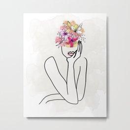 Brains and Beauty Minimal Line Art Metal Print