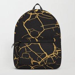 STOCKHOLM SWEDEN GOLD ON BLACK CITY MAP Backpack