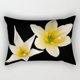 White flowers with black Rectangular Pillow
