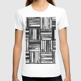 Music Cassette Stacks - Black and White - Something Nostalgic IV #decor #society6 #buyart T-shirt