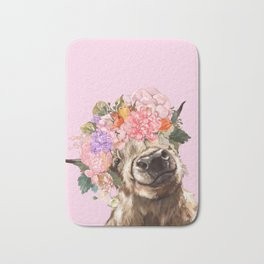 Highland Cow with Flowers Crown in Pink Bath Mat