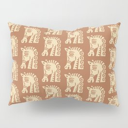 Mid Century Horse Pattern Brown Pillow Sham