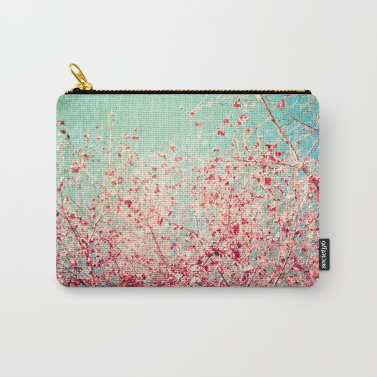Blue Autumn, Pink leafs on blue, turquoise, green, aqua sky Carry-All Pouch