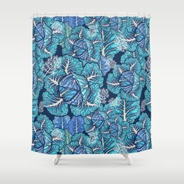 blue winter cabbage Shower Curtain