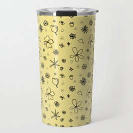 Vintage Inspired Canary Yellow Floral Pattern Travel Mug