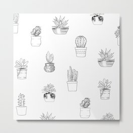 Potted Cactus Pattern Black and White Metal Print