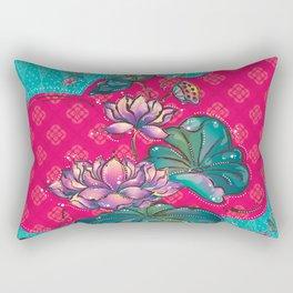 Peranakan Lotus Turquoise Pink Rectangular Pillow