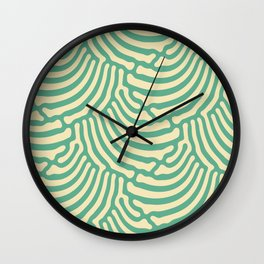 Organic Shells Retro Green Cream Wall Clock