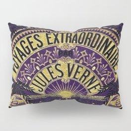 Jules Verne Voyages Extraordinaire Purple Lithographic Print by Jeanpaul Ferro Pillow Sham