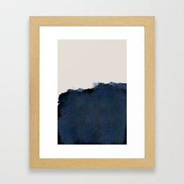 Abstract, blue, beige, indigo Gerahmter Kunstdruck